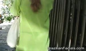 Deep face fuck and shocking Brazilian cumshot facial for a yummy temptress