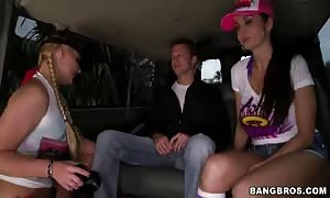 Two cock-swallowing moms are giving good heads in the Bangbus