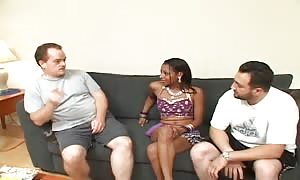 great jizz gulping Indian ebony whore ramming with two whites