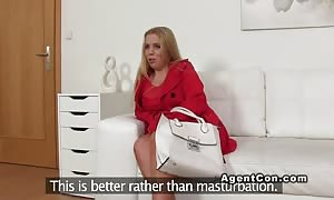 blond beginner overweight woman pounded on audition