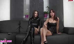 tryout with dirty lesbians in sexy latex costumes playing on web-cam