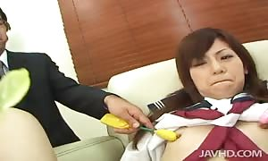 Two professors treating her asshole and cunt using toys