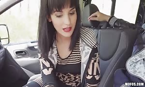 Driver bangs with slim teenie babe at the backseat