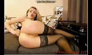 long legged blond is having a aroused ass sex sex with a dildo