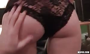 adorable short haired blond is talked into blowjob for cash for brand-new cummer porn
