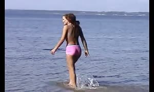 disrobing Beach - stunner huge vagina teenager Frolicking