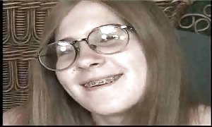 Dorky teenager in braces screwed rock hard