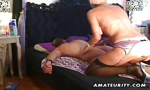A huge boobed blonde beginner streetwalker sucks and fucks doggystyle with good money shot on her aroused butt !