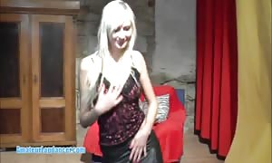 youngster blonde does lapdance and hand job at a try-out