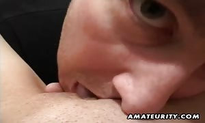 A pretty dark haired newcummer girl-friend amateur gonzo action with pussy toying and mouth-fuck ending with facial cum-shot !