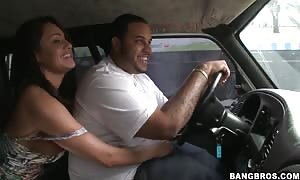 dark haired street walker Charley Chase gives head in jam bus