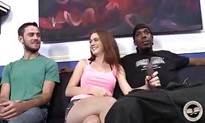 Two ebony fuckers pounding white streetwalker wife in front her spouse