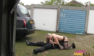Spicy stunner Driver in black thigh-high is getting your mitts on your hands on pounded by a passenger