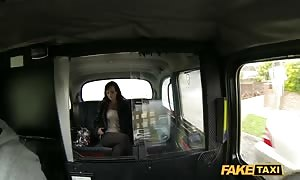 big boobed brown haired being seduced and nailed in the pretend Taxi