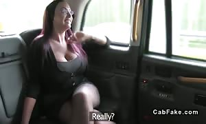 red haired with monster boobs in faux taxi pounded