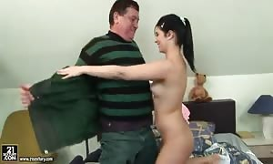 aged man and youngster female are boning rigid