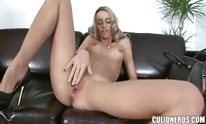 Tall slim Erica Fontes jacking off and throating