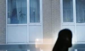 Flashing for the nextdoor neighbor thru the window