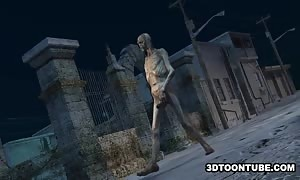 Stacked 3D hotty penetrated by a Zombie