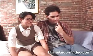 Nerdy schoolgirl turns out to be a horny manhood sucking whore