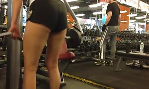 chinese woman Working Out in booty Shorts