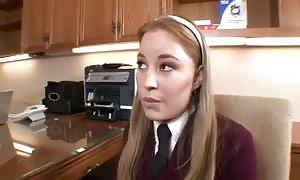 Schoolgirl in his office jammed stiff