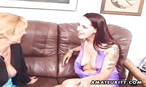 A real new cummer newbie hard-core threesome action with sperm facial cum shot ! two horny milf sharing one shlong !