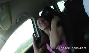 Hungarian teenager hitchhiker pounding pov outside