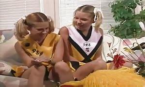 horny teen cheerleaders in a 3 way