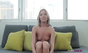 sensual casting blonde posing nude in the flick clip