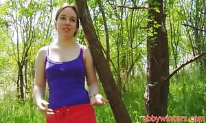 pretty newbie girlfriend Brenda is getting your hands on naked right in the woods