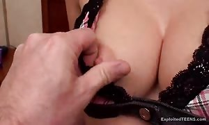 depraved woman with vast pretend juggs pleases her stud in POV porno
