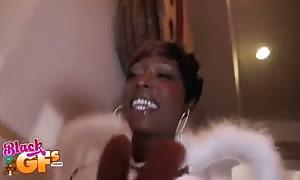 ebony angel deep throat juicy loaded cock in the video by black girl-friends
