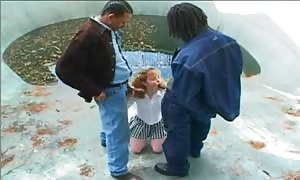 Schoolgirl and an interracial double penetration