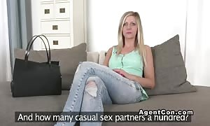 Euro blonde tucked on try-out reality interview