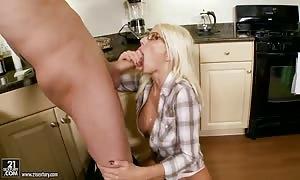 horny blonde Puma Swede takes on massive hard-on