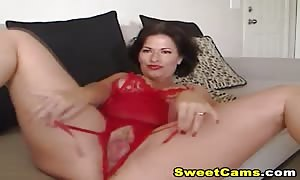 really horny large boobed hotty playing her snug pussy in front of the net web-cam until she reaches have an orgasm