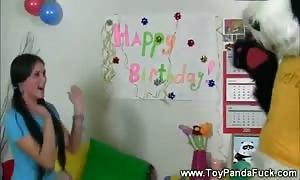 Toypanda helps unwrap horny b-day woman