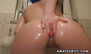 A turned on black-haired amateur girlfriend jerks off under her take a shower and supplies a turned on face fuck with cum shot in her mouth !