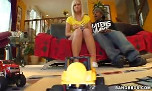 Tara Lynn Foxx playing with completely different toys