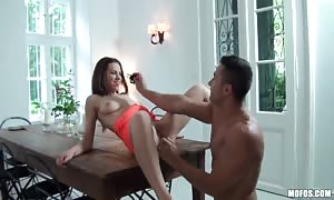 seductive new cummer Mira sparkle can get a mouth full-length of hard-on before getting your mitts on slammed