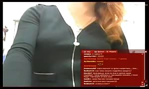 red haired girl is slowly demonstrating her tiny cunt