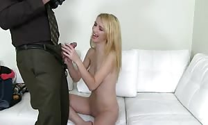 little young blond is performing a really great head at the audition