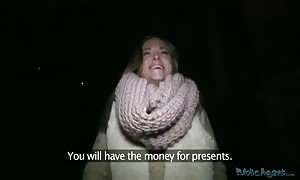 Tanned whore taking penis in her beaver just for cash!