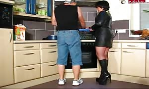 aroused older woman In Leather and Boots can get It In Kitchen