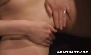 A nice blond German noob gf home made blowjob and screw with jizz shot on her clean-shaven snatch ! real rookie action