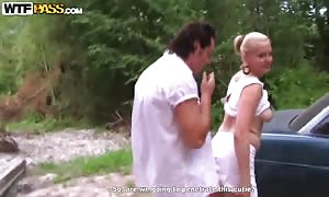 young Emilie has hot sex in the nature with new cummers