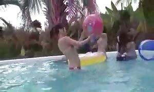 Her bikini is falling
